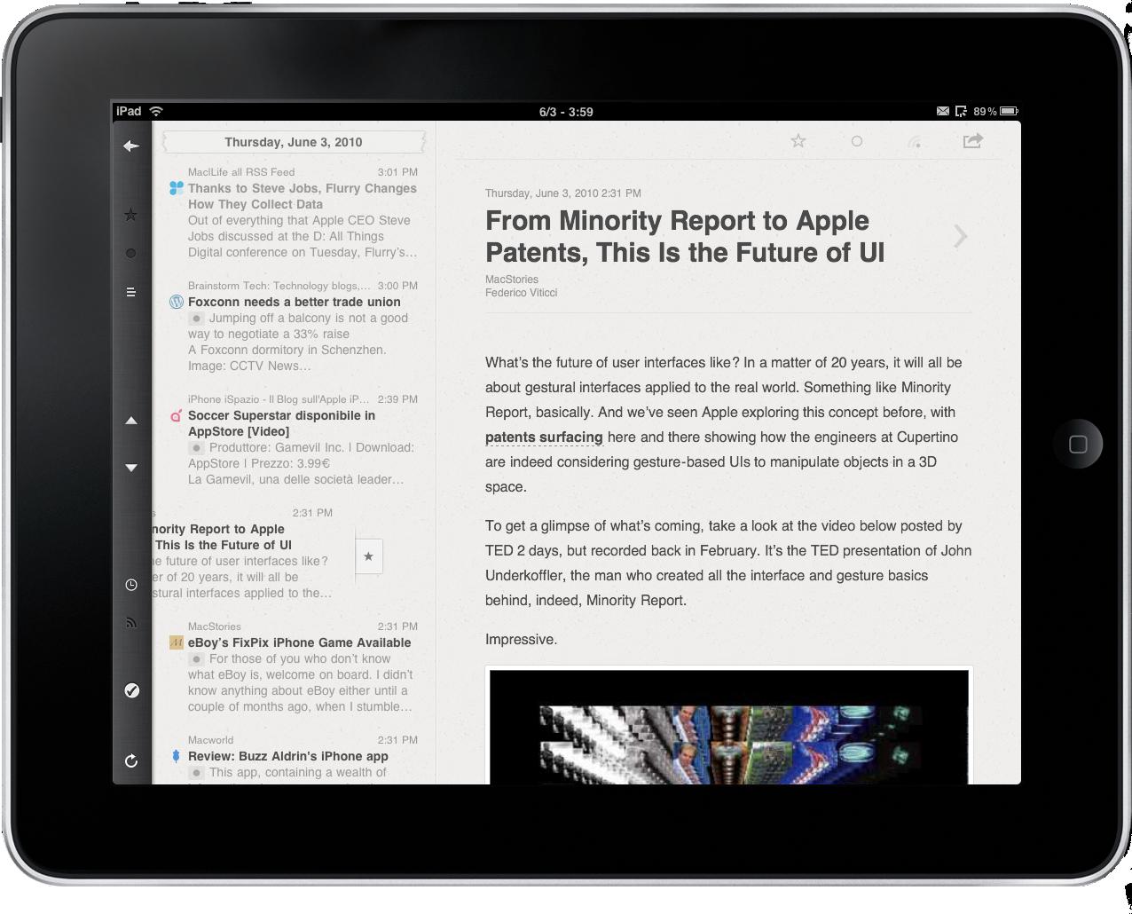 Reeder Redefines Google Reader on the iPad  Reviewed